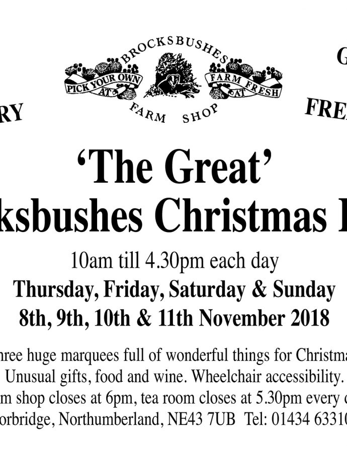 Brocksbushes Christmas Fayre Thursday 8th November to Sunday 11th November